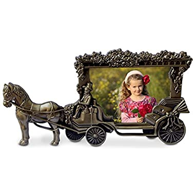 Olivery Horse Carriage Photo Frame - 4  X 6  Picture Frames - Cute Tin Alloy & Glass Home Decor - Great Baby Gift, Wedding Gift & More