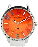 michel Jurdain watch sports 1P diamond Bikkufeisu silicon watch White × Orange MJ-7700-9 Men's
