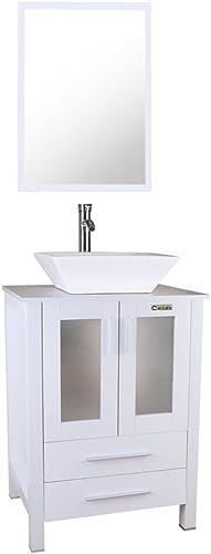 24″ Bathroom White Cabinet Vanity,White Square Ceramic Vessel Sink,Bathroom Vanity Top