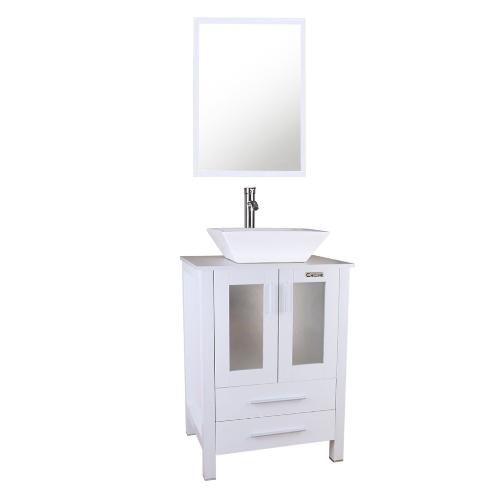 U-Eway 24 Bathroom White Cabinet Vanity,White Square Ceramic Vessel Sink,Bathroom Vanity Top with Porcelain Sink Set,Bathroom Faucet 1.5 GPM,with Mirror White Vanity Ceramic Sink