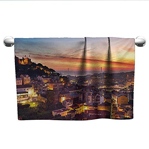 """alisoso Cityscape,Shower Towel Cityscape of Lisbon Portugal Traditional Seaside City Colorful Sky Sunset Evening View Bathroom Hand Towels Brown W 10"""" x L 10"""""""