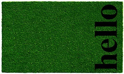 Calloway Mills 102662436GBB Vertical Hello Doormat, Green Black, 24 x 36