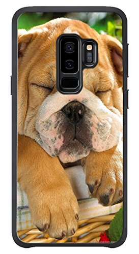 VUTTOO Case for Samsung Galaxy S9 Plus Only - Cute Bulldog Sleeping In A Basket Case - Shock Absorption Protection Phone Cover Case