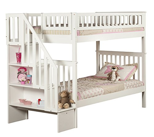 Woodland Staircase Bunk Bed, White, Twin Over Twin by Atlantic Furniture