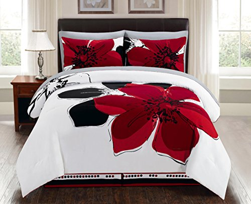8 Pieces Burgundy Red Black White Grey floral Comforter Bed-in-a-bag Set Queen Size Bedding + Sheets (Black White Red Comforter Sets)