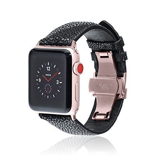 Amazon Com Fitjewels For Apple Watch Band 42 44mm Stingray Black Rose Gold Adapter Clasp Leather Iwatch Strap Replacement Band With Butterfly Clasp For Apple Watch Series 5 Series 4 Series 3 Series 2 1 Handmade