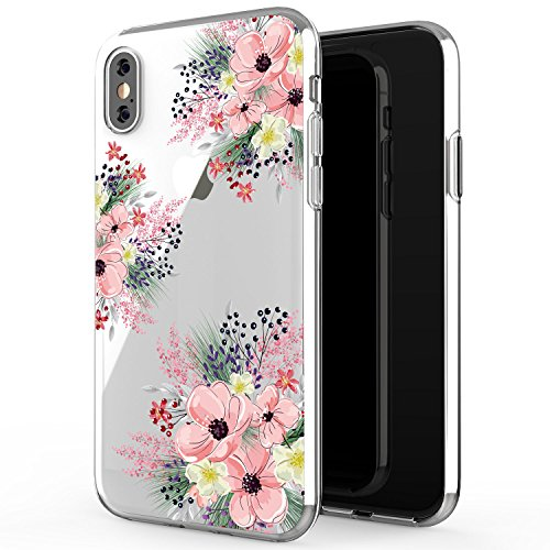 JAHOLAN Cute Girl Floral Design Clear TPU Soft Slim Flexible Silicone Cover Phone Case Compatible with iPhone X/iPhone Xs 5.8 inch - Pink Blossom Flower