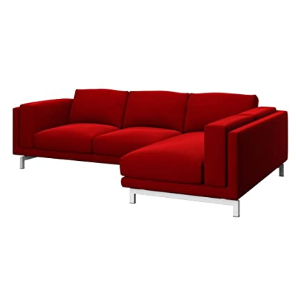 Soferia - Replacement Cover for IKEA NOCKEBY 2-seat Sofa with Right Chaise Longue, Elegance Red
