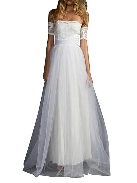 ZiXing Mujer Vestido Largos Encaje de Fiesta de Manga Corto Vestidos Elegantes de Noche Ceremonia Blanco