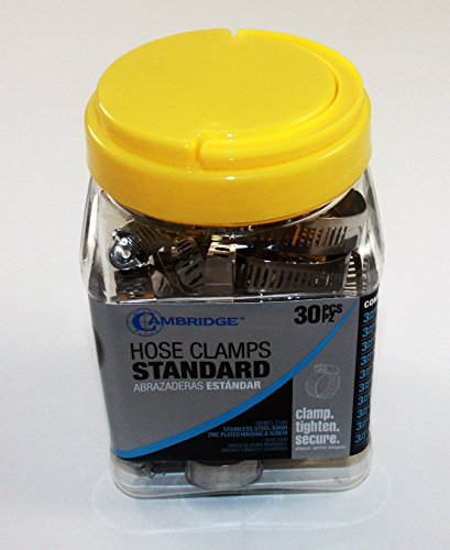 Cambridge Hose Clamp Assortment Jar Kit- 30 Pieces