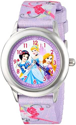 Disney Kids' W001226 Princess Stainless Steel watch, Printed Strap, Analog Display, Analog Quartz, Multi-Color Watch