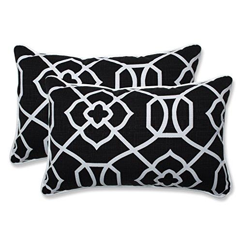 Pillow Perfect Outdoor | Indoor Kirkland Black Rectangular Throw Pillow (Set of 2), 2 Piece (Furniture Patio Overstock)