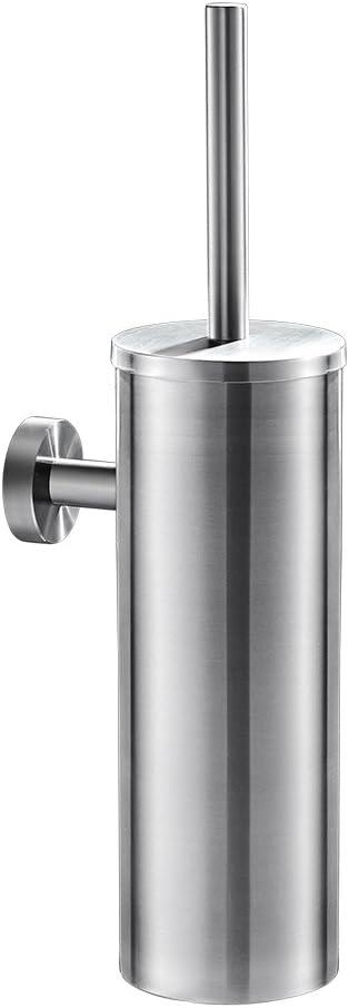 Auralum - Escobilla de baño de Pared Hecho de Acero Inoxidable Cepillado, Escobillero WC con Cerdas Limpias y Juego de Soportes