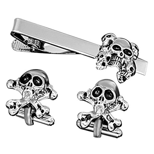 14k 2 Tone Gold Cufflinks - MGStyle Cufflinks Tie Clip Set For Men - Skull - Black & Silver Tone - Stainless Steel with Deluxe Gift Box