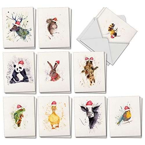 (Wildlife Expressions: 20 Assorted Blank Christmas Greeting Cards Depicting Watercolored Animals with Santa Hats on Splatter Backgrounds, with Envelopes. AM2973XSB-B2x10 (2 Each of 10 Designs))