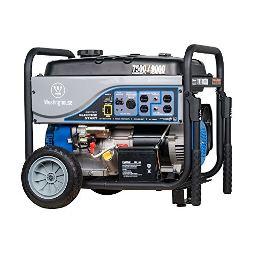 Westinghouse WGen7500DF Dual Fuel Portable Generator – 7500 Rated Watts 9500 Peak Watts – Gas or Propane Powered – CARB