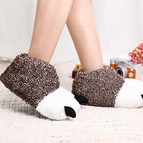 Pantofole Peluche Fuzzy Morbide Scarpe Animali Zampa Scarpe Novità Per Uomo Donna Kaki