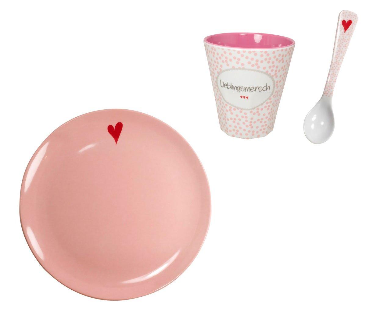 Mea Living Melamin Geschirr Set Fr/ühst/ücksset Lieblingsmensch rosa M/üslischale und Becher 450 ml