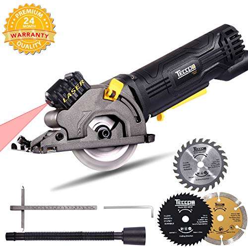 "Circular Saw, TECCPO Compact Circular Saw with Laser Guide, 3 Saw Blades, Scale Ruler and 4Amp Pure Copper Motor, Suitable for Wood, Tile, 3-1/3"" 3500RPM Aluminum and Plastic Cuts - TAPS22P"