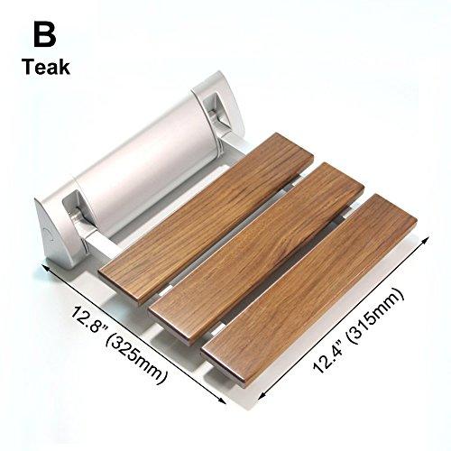 JCWANGDEFU Folding Shower Seat Wall Mounted Bathroom Bathtub Safety Stool Chair, Solid Wood, Load of 350 lbs, B