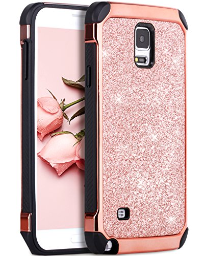 BENTOBEN Note 4 Case, Galaxy Note 4 Case, 2 in 1 Glitter Bling Hybrid Slim Hard PC Cover Coat Sparkly Shiny Faux Leather Chrome Shockproof Protective Phone Case for Samsung Galaxy Note 4, Rose Gold