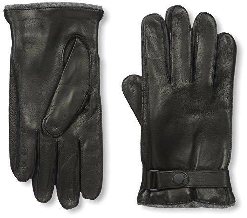 Portolano Men's Cashmere Lined Nappa Gloves with Ship Stitch, Black/Grey, L - Cashmere Portolano