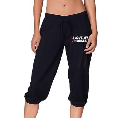 Amazon.com  Women Power Flex Jogger Sweatpants I Love My Horses ... b279ad0ba3f5