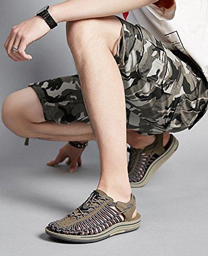Alla hellomiko grigio da Intrecciate Nuovi Esterno Sandali Moda Casual Mano 2018 Scarpe da Uomo a wrtH6r
