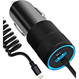 iPhone Car Charger, 4.8A Rapid USB Car Charger with Coiled Lightning Cable for iPhone X/8/8 Plus/7/6s/6s Plus 5S 5 5C SE, iPad and More, with Extra USB Port