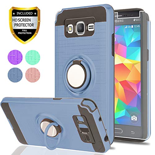 Galaxy Grand Prime Case, Galaxy J2 Prime Case with HD Screen Protector,Ymhxcy 360 Degree Rotating Ring & Bracket Rubber Dual Layer Shock Bumper Resistant Back Cover forSamsung G530H-ZH Metal Slate