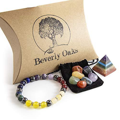 Portable Healing Crystals Set - Chakra Bracelet, Portable Chakra Stones and 7 Chakra Pyramid Energy Generator - On-The-Go Healing Stones For Traveling - Amethyst, Lapis Lazuli, Carnelian, Red Jasper,