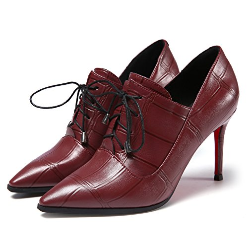 KHSKX-Europe And The Trend Of Cross Straps Deep Pointed With A Fine Ladies Shoes Fashion Shoes gules rKmV90P