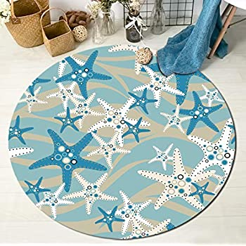 Amazon.com: HVEST Nautical Area Rug Starfish Round Rugs