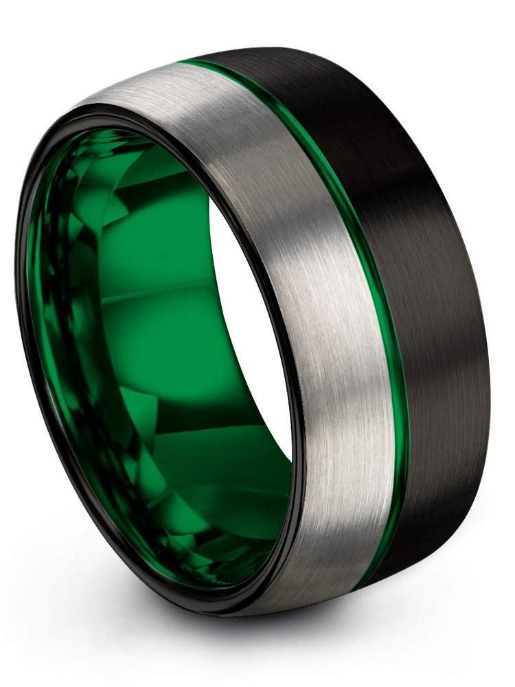 Chroma Color Collection Tungsten Wedding Band Ring 10mm for Men Women Red Green Purple Black Center Line Domed Half Brushed Polished Charming Jewelers CC-8848-HB
