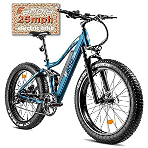 eAhora AM200 Fat Tires 500W Full Suspension Electric Mountain Bike Dual Hydraulic Brakes 48V 10.4Ah Battery E-PAS Tech 9 Speed Shimano Transmission System Colored Display Screen