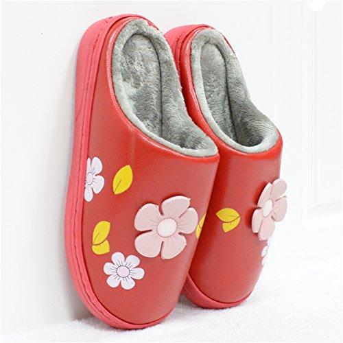 casa spesse rosso PU Inverno peluche 40 una coppie pantofole slittamento in femmina 41 scarpe cotone maschio il indoor pantofole 40 anti calda 39 YqBOqw
