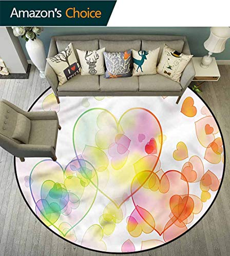 RUGSMAT Abstract Round Area Rug,Heart Shapes Celebration Pattern Floor Seat Pad Home Decorative Indoor -