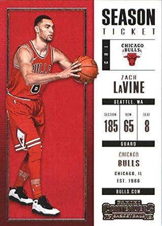 fbbab000 2017-18 Panini Contenders Season Ticket #85 Zach LaVine Chicago Bulls  Basketball Card