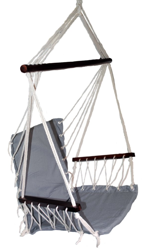 Shop4Omni OMNI Patio Swing Seat Hanging Hammock Cotton Rope Chair With Cushion Seat (Gray)