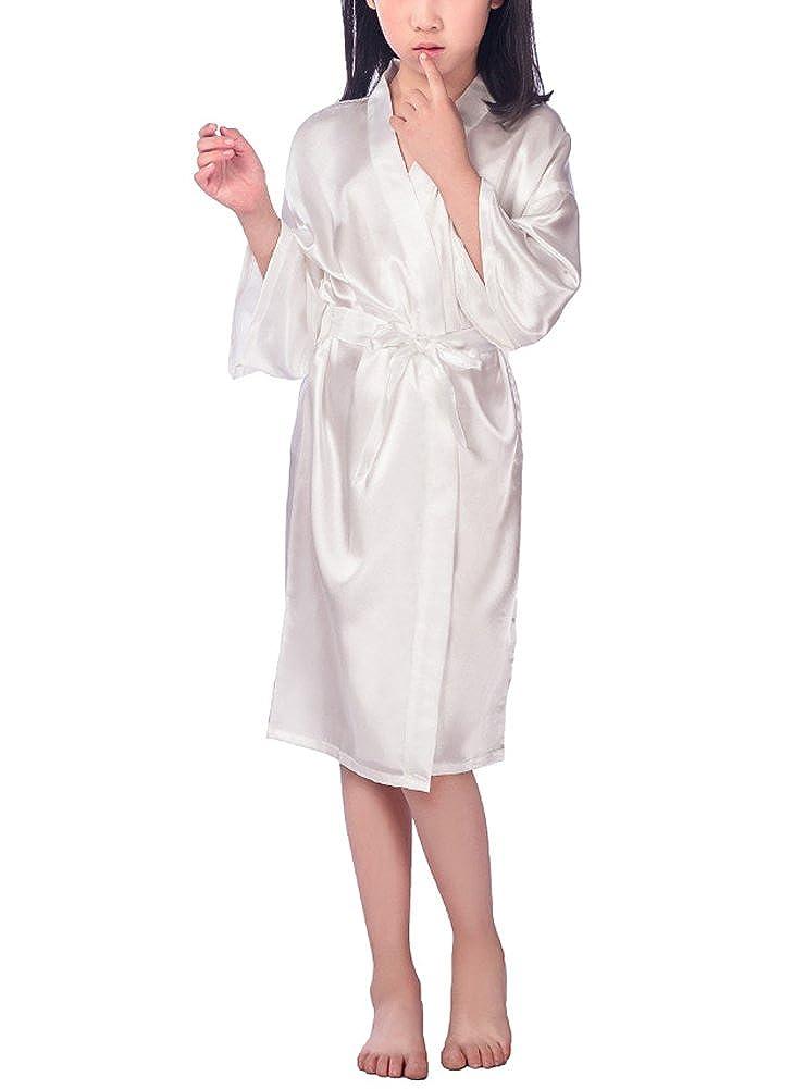 DELEY Bambini Ragazze Kimono Raso Seta Accappatoi Accappatoio Vestaglia Pigiameria Pigiami Robe di Raso Camicie da Notte