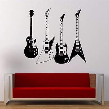 Vandelkt recogió cuatro tipos de guitarras eléctricas tatuajes de pared Musical Cool Rock instrumento pegatinas de pared Home Art Tion 57 * 60 cm: ...