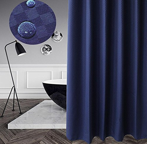 Eforcurtain European Fashion Mosaic Pattern Shower Curtains Checkered Polyester Fabric, Durable Standard Size Bathroom Curtain Water Repellent 72 by 72 Inches, Navy Blue