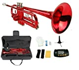 Merano B Flat RED / Silver Trumpet with Case+Mouth Piece+Valve Oil+Metro Tuner+Stand