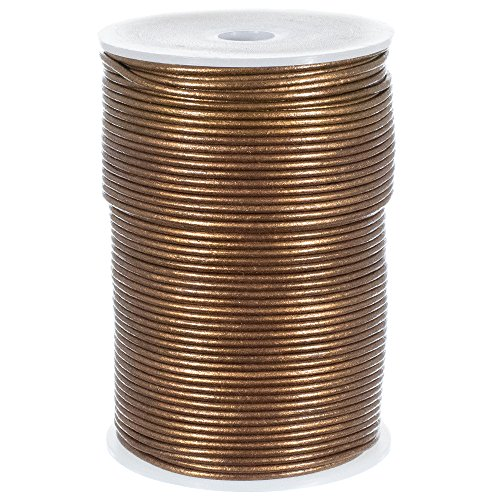 Craft County 2mm Round Leather Cord - 5, 10, 25 or 50 Yards or 328 Feet (Kansa, 50 Yards)