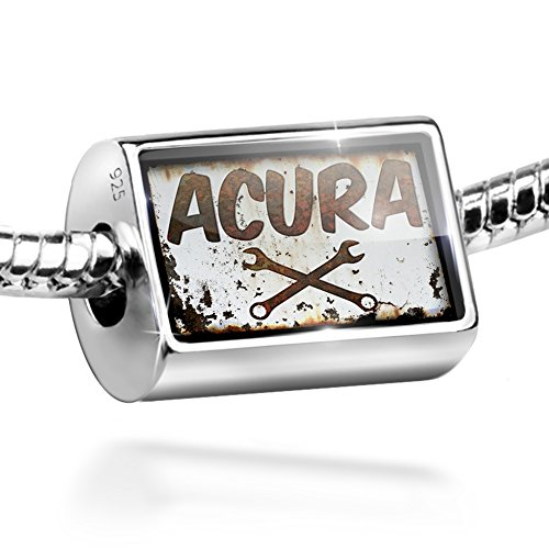 Sterling Silver Bead Rusty old look car Acura Charm by NEONBLOND