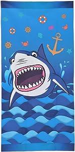 "WERNNSAI Shark Beach Towel - 30"" × 60"" Microfiber Sand Free Blue Beach Blanket Quick Dry Water Absorption Picnic Swim Shower Bath Towel Pool Ocean Shark Party Supplies"