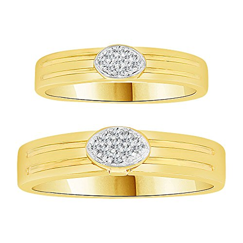 14k Yellow Gold White Rhodium, Couple Duo His and Her Set Band Rings Synthetic CZ Crystals by GiveMeGold