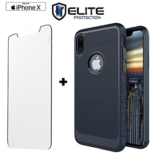 Mini D-pad Crystal Cover (iPhone X Case Compatible with Apple iPhone X / iPhone 10 | Flexible Non Slip Military Grade TPU | Includes 9H Hardness Crystal Clear Tempered Glass Screen Protector| Scratch Proof Technology (Navy))