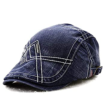 a3c756c2a32 Tradico Unisex Cotton Washed Embroidery Beret Hat Duckbill Golf Buckle Visor  Cabbie Cap for Men Women
