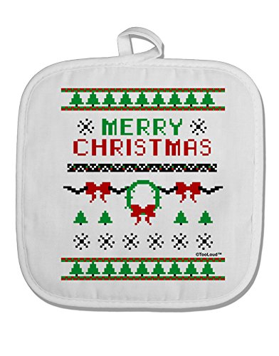 TooLoud Merry Christmas Ugly Christmas Sweater White Fabric Pot